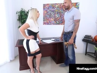 Hot Employer Nina Kayy Is Banged By A Chubby Dig up Grunt Worker!