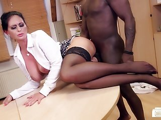 Exiled Buero - German MILF sucks black horseshit elbow make an issue of office